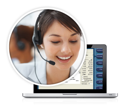 Customer Care agent wearing a headset, with a laptop open to PharmaClik Rx in the background