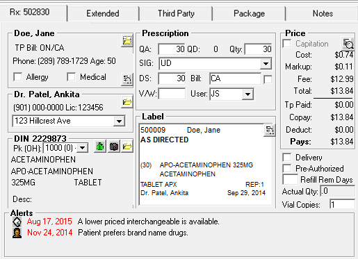 About The Rx Tab In Rx Detail